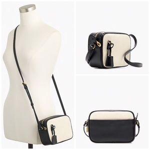 J. Crew Mini Signet Bag Italian Leather & Canvas